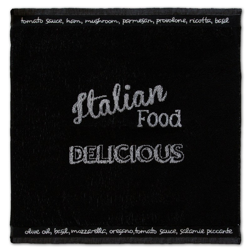 Keukendoek Italian food | Black | 50 x 55 cm