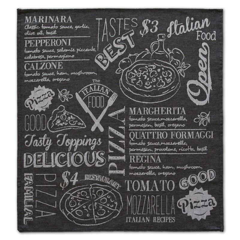 Theedoek Italian food | Black | 60 x 65 cm