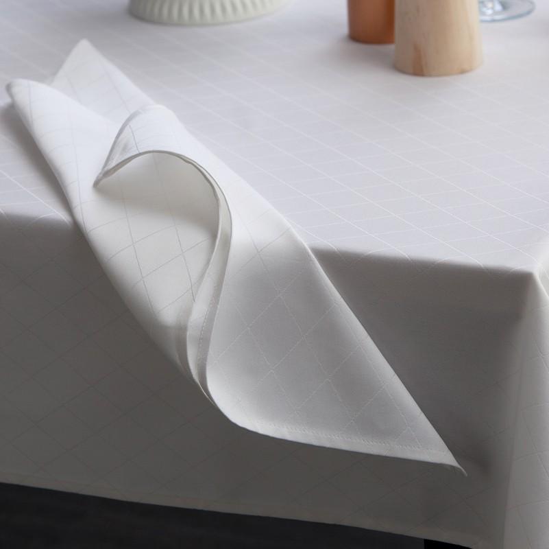 Servetten Damast Rhombus   White   50 x 50 cm