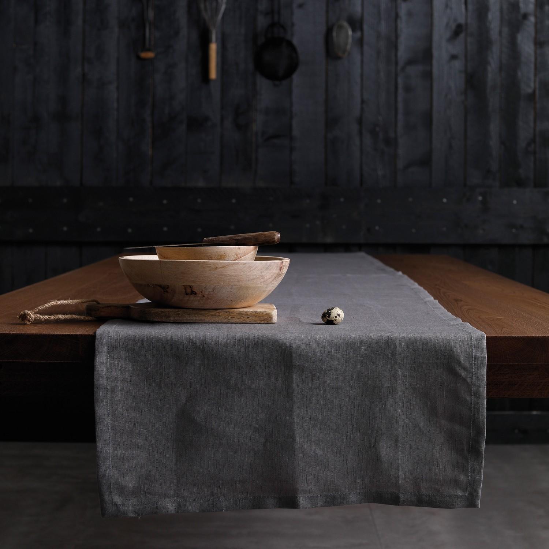Tafelloper Cabin | Linnen | Grey | 50 x 140 cm