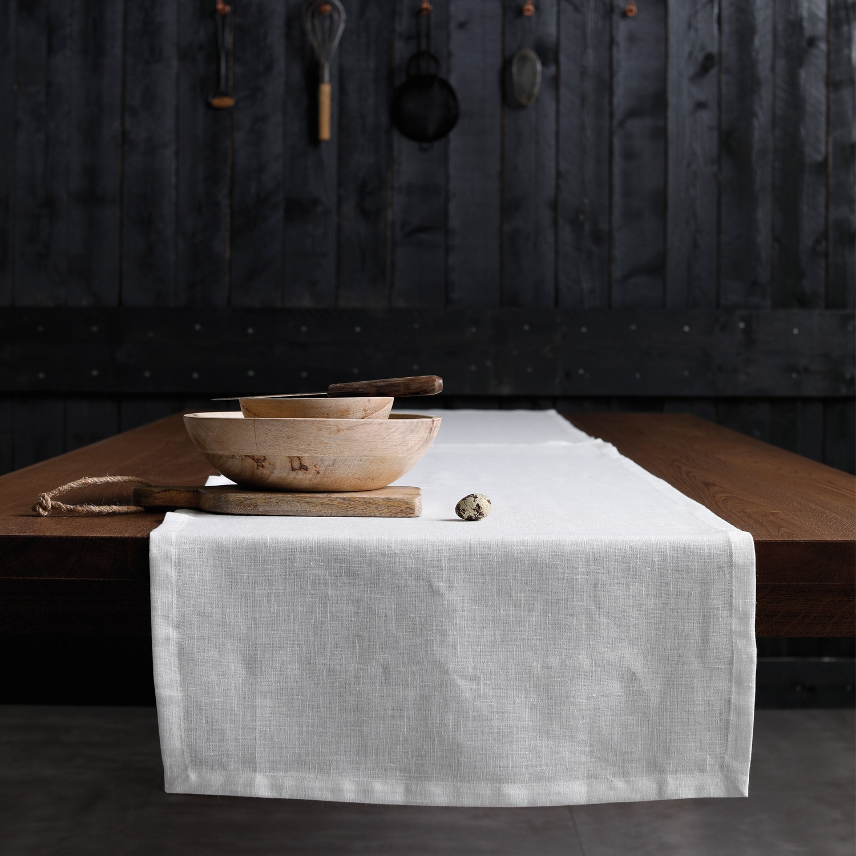 Tafelloper Cabin | Linnen | White | 50 x 140 cm