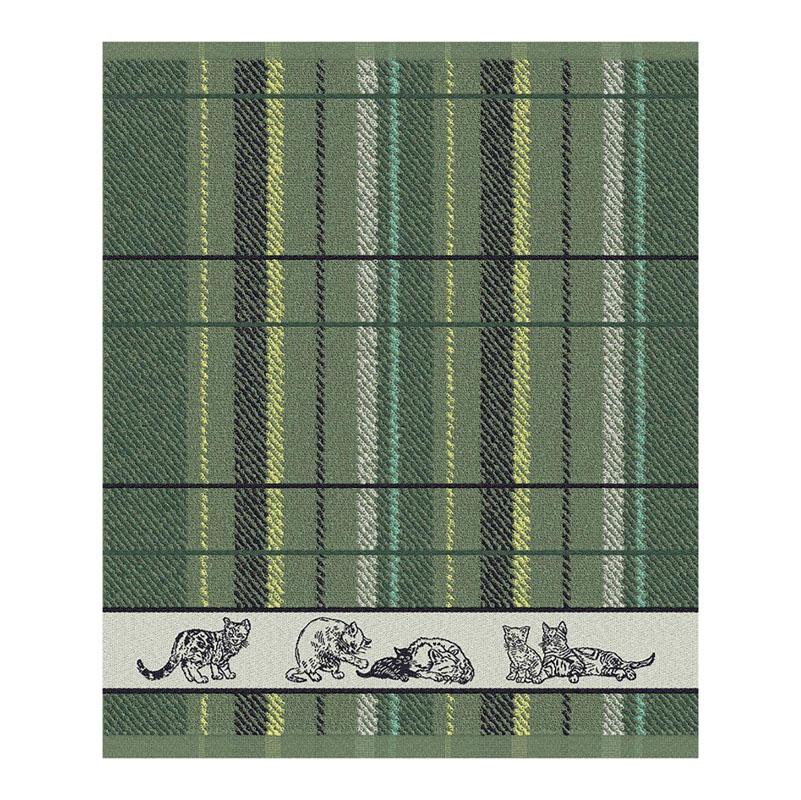 Keukendoek Family Cat   Green   50 x 55 cm