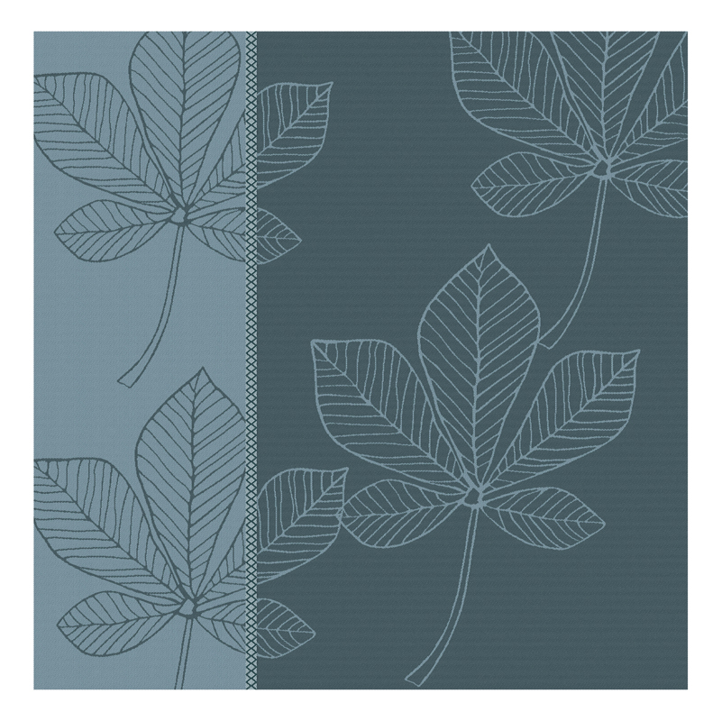 Theedoek Leaves | Antlantic Blue | 60 x 65 cm